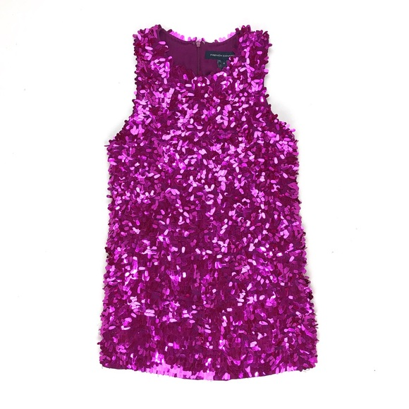 French Connection magenta sequinned cocktail dress